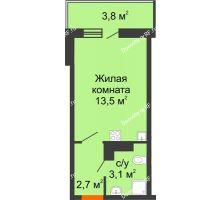 Студия 20,4 м², ЖК Акварели-3 - планировка