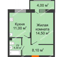 1 комнатная квартира 39,9 м² в ЖК Цветы 2, дом № 4 - планировка