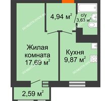 1 комнатная квартира 38,72 м² в ЖК Книги, дом № 1 - планировка