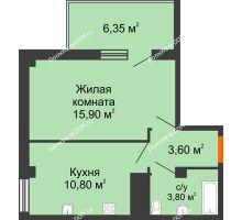 1 комнатная квартира 36,6 м² в ЖК Грин Парк, дом Литер 1 - планировка
