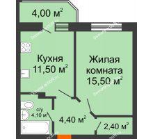 1 комнатная квартира 41,7 м² в ЖК Звездный-2, дом № 4 - планировка