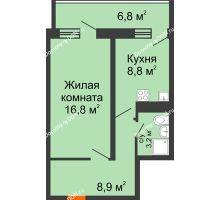 1 комнатная квартира 41,6 м² в ЖК Звезда Столицы, дом Литер 9 - планировка