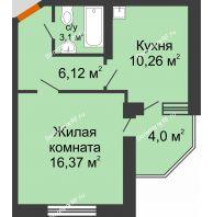 1 комнатная квартира 37,92 м² в ЖК Мандарин, дом 2 позиция 5-8 секция - планировка