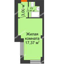 Студия 23,28 м², Апарт-Отель Гордеевка - планировка