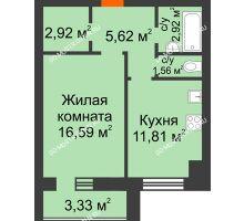 1 комнатная квартира 43,08 м² в ЖК Парк Горького, дом 62/18, № 6
