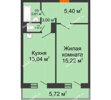 1 комнатная квартира 42,01 м² в ЖК Иннoкeнтьeвcкий, дом № 6