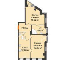 2 комнатная квартира 67,53 м² в ЖК Дом на Провиантской, дом № 12 - планировка