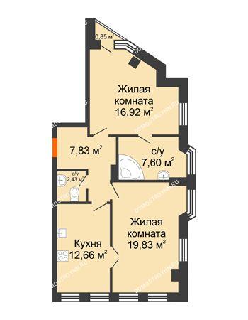2 комнатная квартира 67,53 м² в ЖК Дом на Провиантской, дом № 12