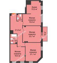 4 комнатная квартира 123,8 м² в ЖК Премиум, дом № 2 - планировка