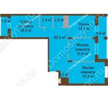 3 комнатная квартира 99,6 м² в ЖК Монолит, дом № 89, корп. 1, 2 - планировка