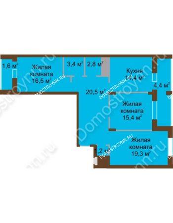 3 комнатная квартира 99,6 м² в ЖК Монолит, дом № 89, корп. 1, 2