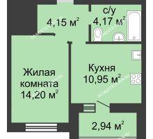 1 комнатная квартира 34,94 м² в ЖК Парк Горького, дом 62/3, № 5 - планировка