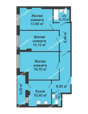 3 комнатная квартира 83,8 м² - ЖК Дом на Береговой