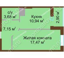 1 комнатная квартира 42,14 м² в ЖК Красная поляна, дом № 8