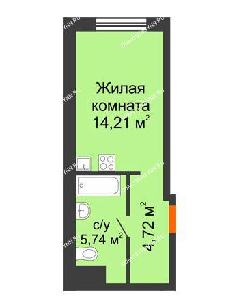 Студия 24,67 м² в ЖК Город времени, дом № 18