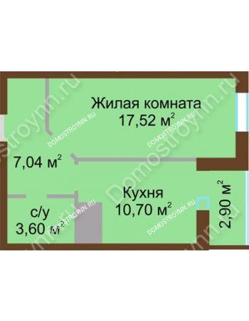 1 комнатная квартира 41,76 м² в ЖК Красная поляна, дом № 8