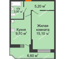 1 комнатная квартира 35,6 м² в ЖК Победный, дом Литер 3 - планировка