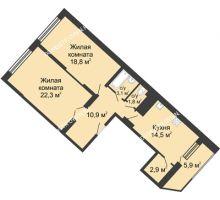 2 комнатная квартира 80,1 м² в ЖК Монолит, дом № 89, корп. 3 - планировка