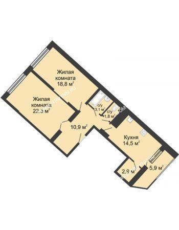 2 комнатная квартира 80,1 м² в ЖК Монолит, дом № 89, корп. 3