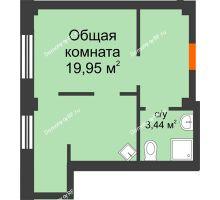 1 комнатная квартира 28,9 м² в Микрорайон Новая жизнь, дом позиция 19 - планировка