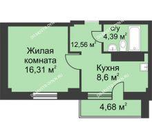 1 комнатная квартира 35,07 м² в ЖК На Победной, дом № 4 - планировка