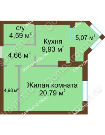1 комнатная квартира 46,9 м² - ЖК Грани