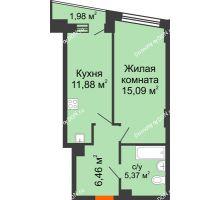 1 комнатная квартира 39,96 м² в ЖК Рубин, дом Литер 3 - планировка