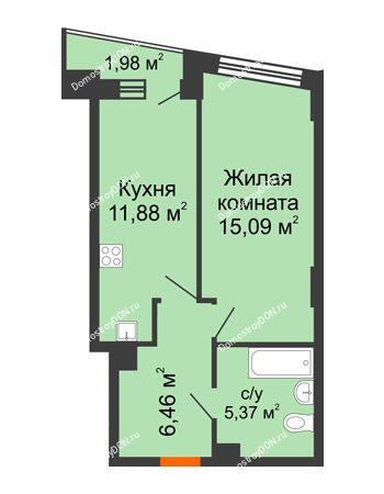 1 комнатная квартира 39,79 м² в ЖК Рубин, дом Литер 2