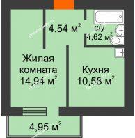 1 комнатная квартира 36,17 м², ЖК Новая Жизнь - планировка