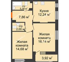 2 комнатная квартира 60,19 м², ЖД Жизнь - планировка