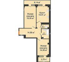 2 комнатная квартира 76,07 м² в ЖК Парковый, дом 6 позиция, блок-секция 3 - планировка