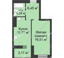 1 комнатная квартира 42,27 м² - ЖК Буревестник