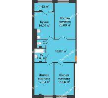 3 комнатная квартира 97,29 м² в ЖК Малахит, дом № 1 - планировка