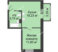 1 комнатная квартира 38,92 м² в ЖК Красная поляна, дом № 6