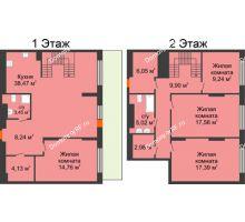 4 комнатная квартира 137,21 м² в ЖК Октябрьский, дом ГП-3 - планировка
