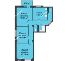 3 комнатная квартира 84,1 м² в ЖК Ясный, дом № 10 - планировка