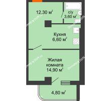 1 комнатная квартира 35,71 м², ЖК Уютный дом на Мечникова - планировка