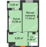 1 комнатная квартира 43,69 м² в Жилой район Берендей, дом № 14 - планировка