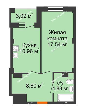 1 комнатная квартира 43,69 м² в Жилой район Берендей, дом № 14