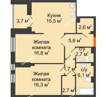 2 комнатная квартира 71,9 м² в Клубный дом Лобачевский, дом № 1 - планировка