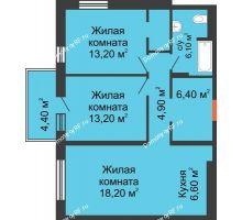3 комнатная квартира 72,2 м² в ЖК Новый кленовый, дом № 2(2 этап) - планировка