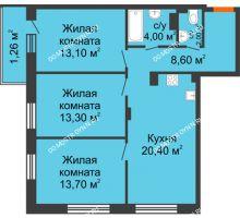 3 комнатная квартира 76,36 м² в ЖК Заречье, дом № 7 - планировка