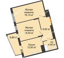 2 комнатная квартира 69,5 м² в ЖК Маршал Град, дом № 3 - планировка