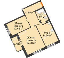 2 комнатная квартира 67,72 м², Дом премиум-класса Коллекция - планировка