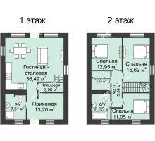 4 комнатная квартира 136 м² в КП Фроловский, дом № 44 по ул. Восточная (136 м2)  - планировка