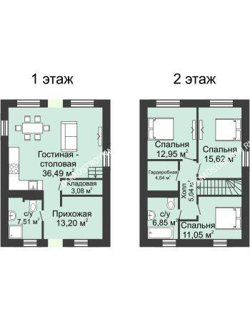 4 комнатная квартира 136 м² в КП Фроловский, дом № 44 по ул. Восточная (136 м2)