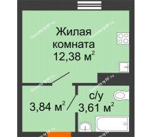 1 комнатная квартира 19,83 м² в ЖК Волна, дом 2 очередь (секция 4) - планировка