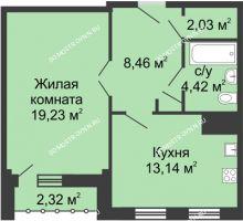 1 комнатная квартира 48,44 м² - ЖК Сергиевская Слобода