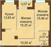 2 комнатная квартира 68,6 м² - ЖК Грани