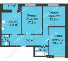 3 комнатная квартира 76,4 м² - ЖК Дом на Иванова
